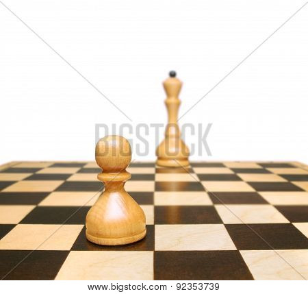 Chess. Pawn And Queen. Symbol Development Or Career Growth.