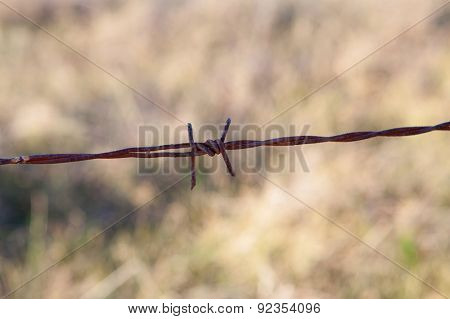 Detail of a rusty metal fence in the field