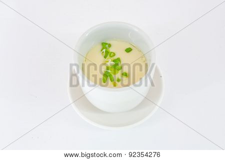 Steam Egg In White Bowl Isolate On White Background