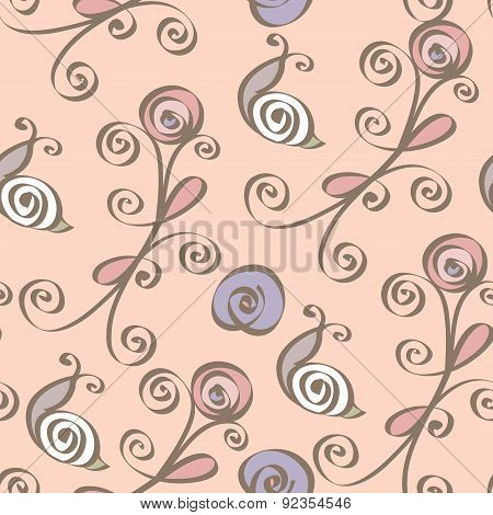 Vector seamless pattern with abstract floral elements