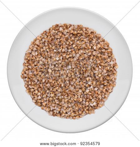 Buckwheat, Ready To Eat On A White Plate