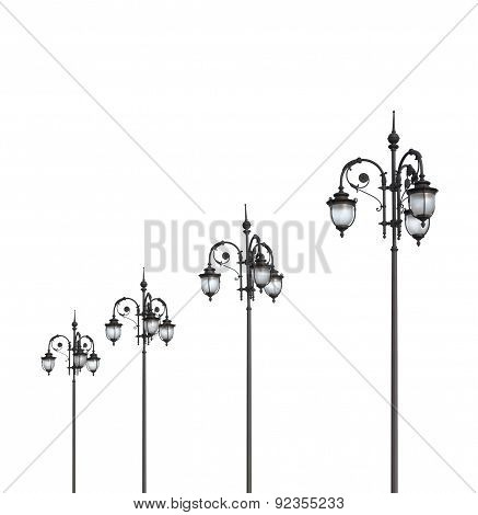 Streetlights On White A Background