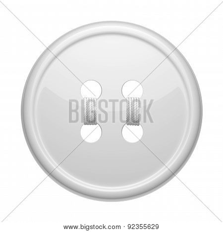 Sewing Button On A White Background