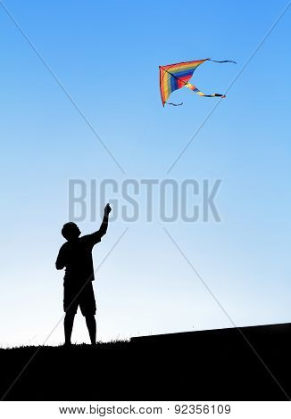 Kite In The Sky. Silhouette Of A Man.