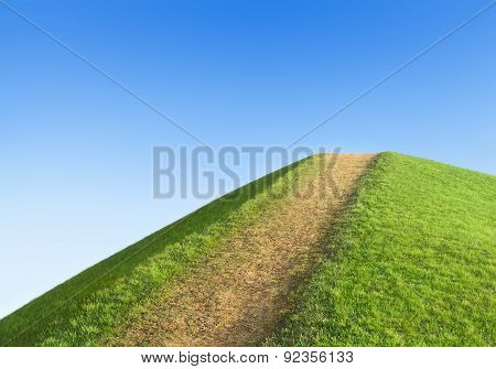 Pathway Up The Hill Against The Sky. Symbol Development Or Career Growth