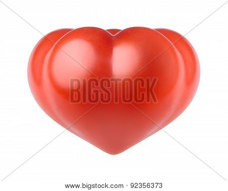Tomato In The Form Of Heart On A White Background