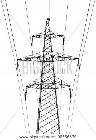Electricity Pylon On White Background