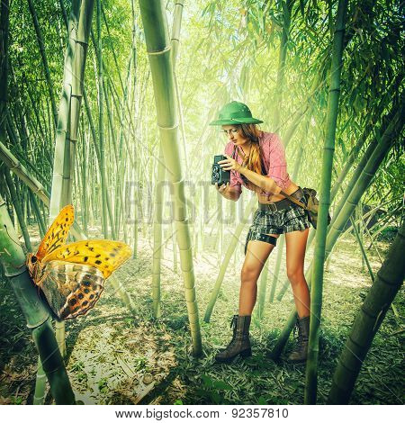 Woman With Vintage Camera In Tropics