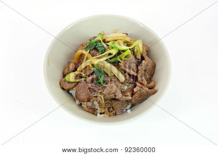 Gyudon : Japanese Food With Beef And Rice Isolate On White Background