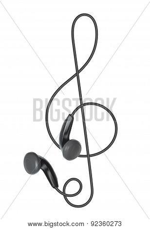 Earphones In The Form Of Treble Clef