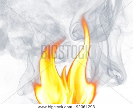 Flames And Smoke On A White Background