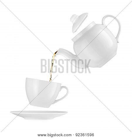 Teapot Pouring Tea Into A Cup On A White Background