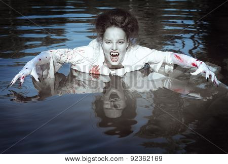 Vampire Woman Dressed White Bloody Shirt In The River