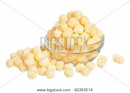 Appetizing Corn Sticks In Glass Dishes On White Background