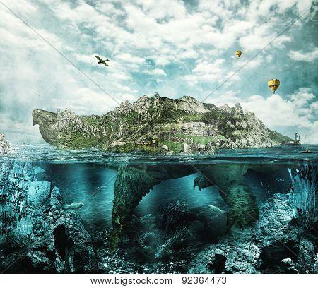Fantasy Turtle Like An Island