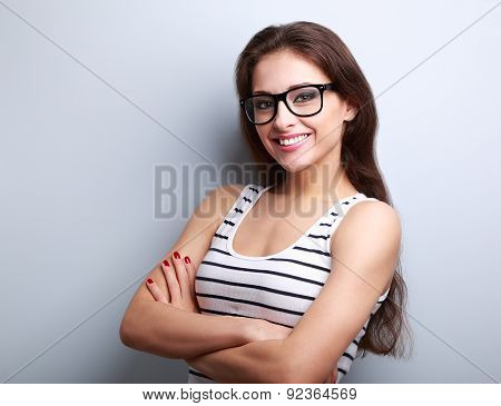 Happy Successful Young Woman In Glasses Looking