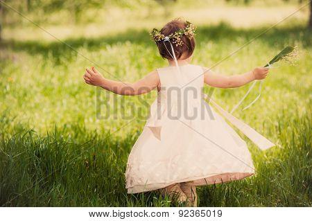 funny girl outdoors, childhood