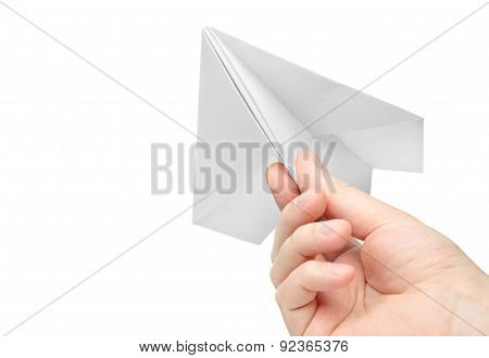 paper airplane in hand, isolated on white background