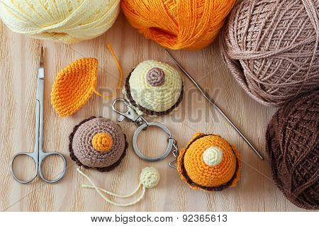 Handmade Colorful Crochet Flowers On Bamboo
