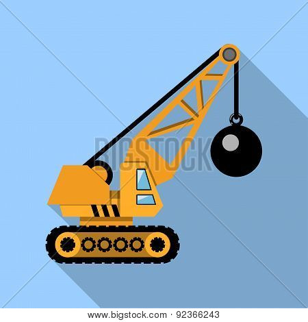 Crane with Wrecking Ball