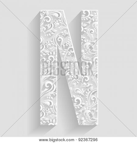 Letter N. Vector Floral Invitation cards Decorative Font