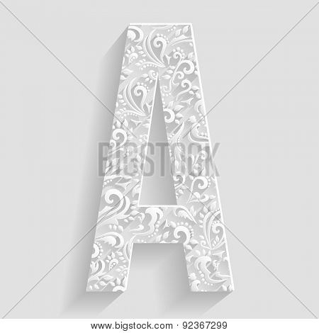 Letter A. Vector Floral Invitation cards Decorative Font