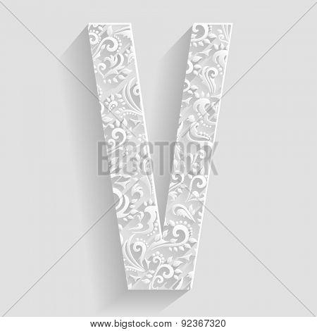 Letter V. Vector Floral Invitation cards Decorative Font