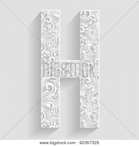 Letter H. Vector Floral Invitation cards Decorative Font