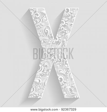 Letter X. Vector Floral Invitation cards Decorative Font