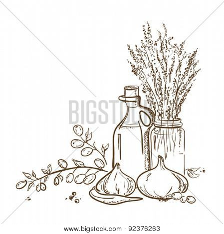 Graphic illustration of olive branch and a bottle of olive oil with vegetables