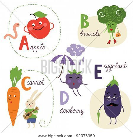 english alphabet with fruits and vegetables