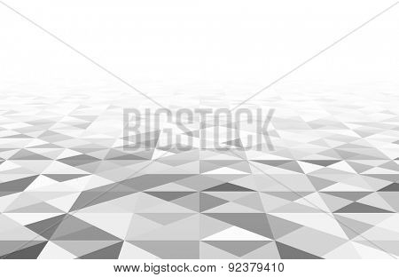 Perspective grey and white grid. Triangular surface. Vector illustration.
