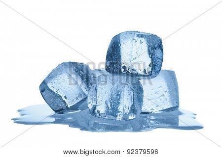Group of melting ice cubes isolated on white background