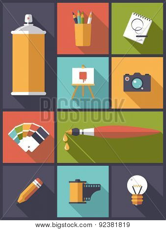 Art, design and photography Flat Icons Vector Illustration. Vertical flat design illustration with various icons related to art, design and photography