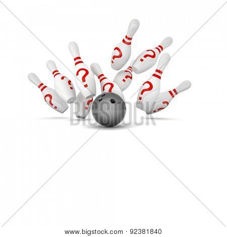 bowling skittle and question mark symbol