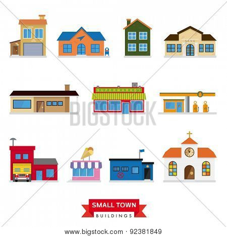 Small Town Buildings Vector Set. Collection of 11 flat design buildings typical of small towns
