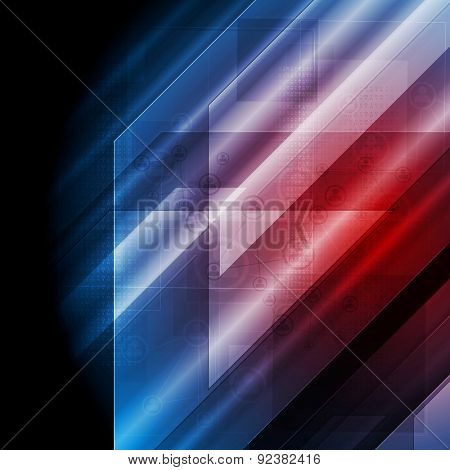 Dark blue red tech abstract background. Vector design