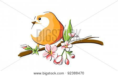 cute orange bird on branch