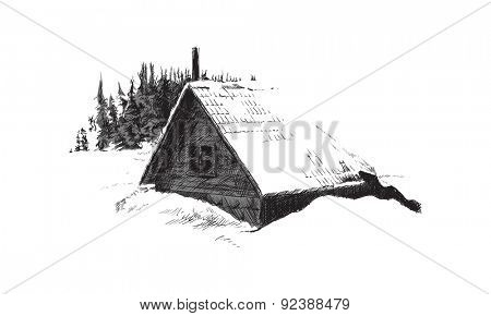 sketch of house in winter forest