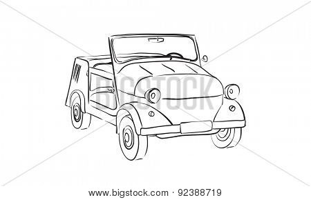 sketch of Soviet old-timer car