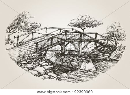 Bridge over river sketch