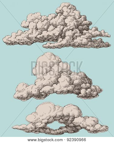 Detailed vintage style clouds vector set