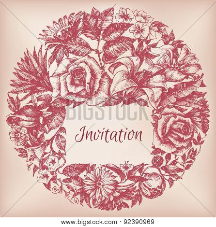 Round floral decoration, frame for text