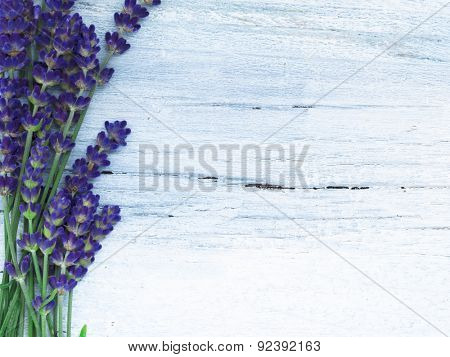 fresh lavender flowers on the wooden table