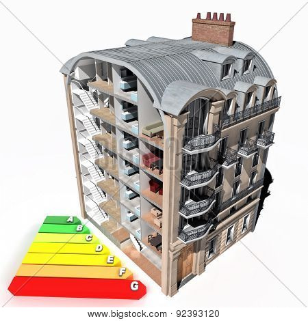 3D rendering of a classic building sectioned and an energy efficiency chart