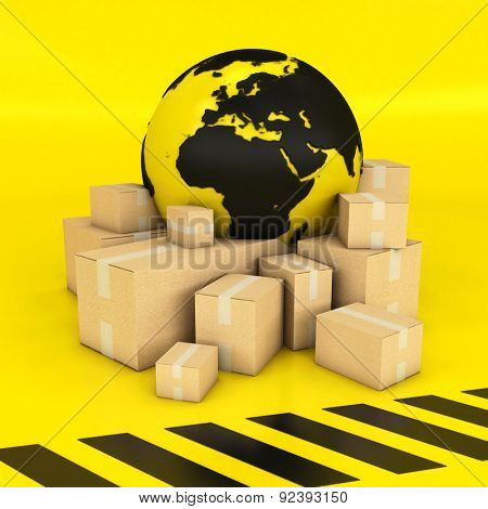 3D rendering of an Earth surrounded by boxes in black and yellow stripped texture
