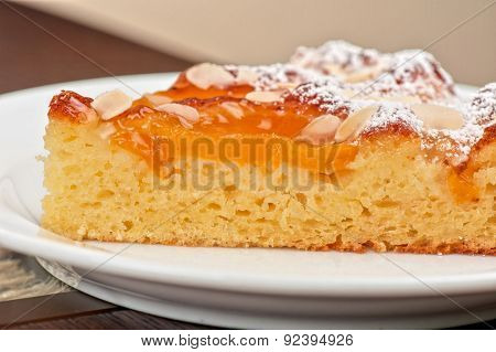 tasty cake with apricot and cottage cheese with nuts