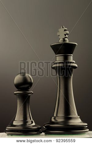 black king and pawn of chess , studio picture