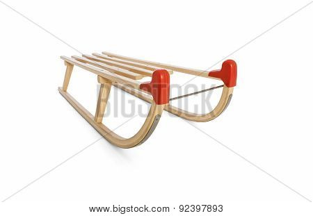 Wooden sledge on white -Clipping path