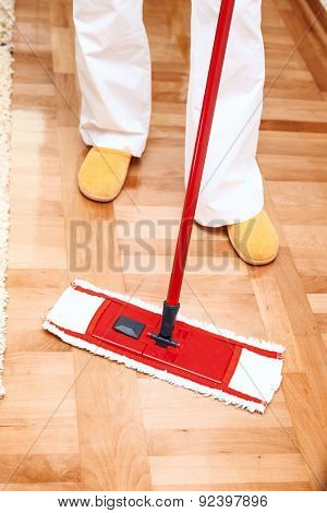 House cleaning -Mopping hardwood floor